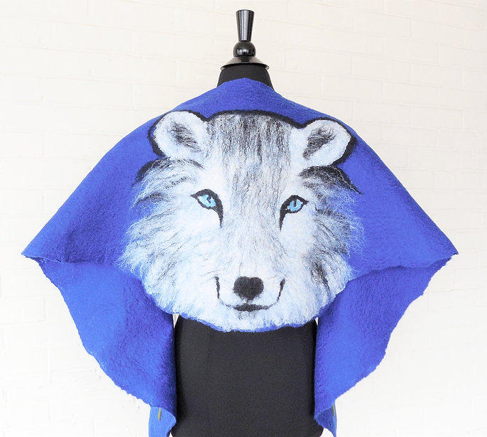 Hand felted silk and wool Wolf Wrap soft wool and silk