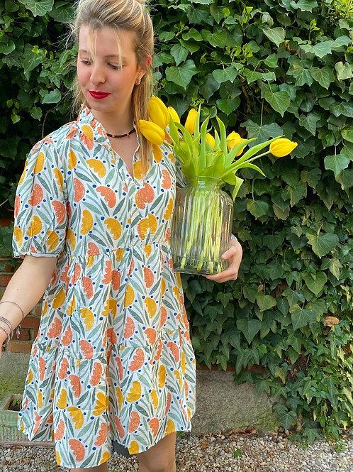 Vestito corto ampio stampa fiori