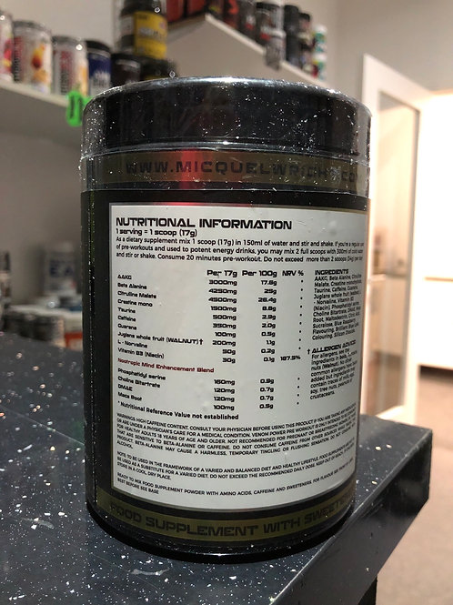 Micquel wrights venom pre workout (blue raspberry )