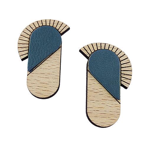 Boucles d'oreilles en bois et cuir MAYA Marine