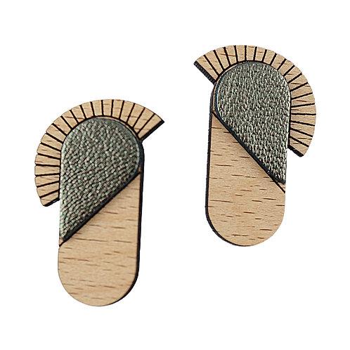 Boucles d'oreilles en bois et cuir MAYA Kaki
