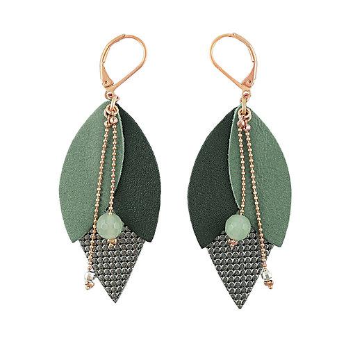 Boucles d'oreilles en cuir TULIPE Vert de gris