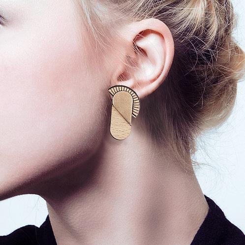 Boucles d'oreilles en bois et cuir MAYA Or