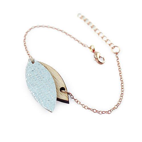 Bracelet en bois et cuir MINI PÉTALE Cristal