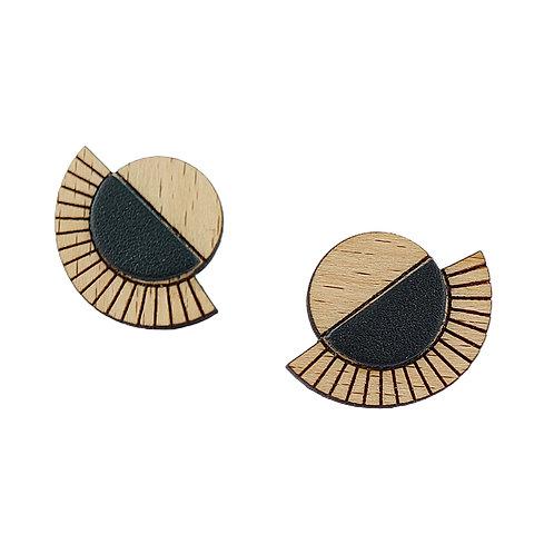 Puces d'oreilles en bois et cuir AZTÈQUE Noir