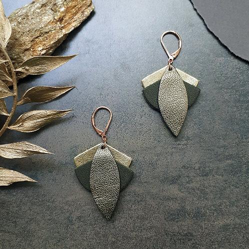 Boucles d'oreilles en cuir LOTUS Kaki