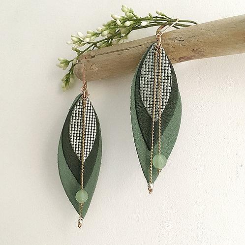 Boucles d'oreilles en cuir POP Vert de Gris