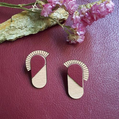 Boucles d'oreilles en bois et cuir MAYA Prune