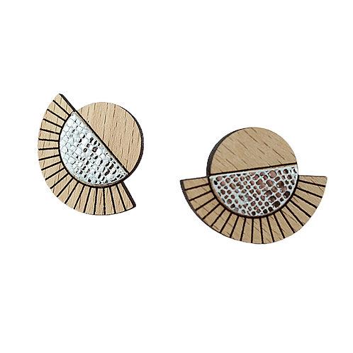 Puces d'oreilles en bois et cuir AZTÈQUE Cristal