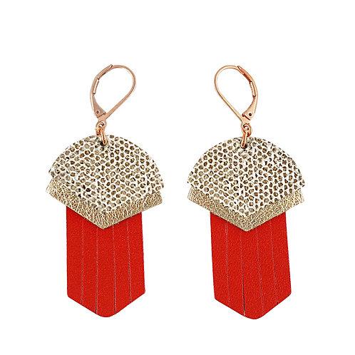 Boucles d'oreilles en cuir APACHE Rouge