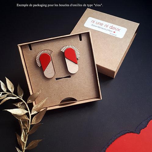 Boucles d'oreilles en bois et cuir MAYA Rouge