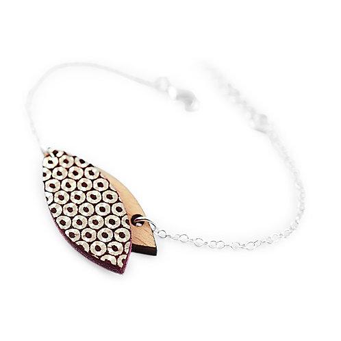 Bracelet en bois et cuir MINI PÉTALE Mordoré