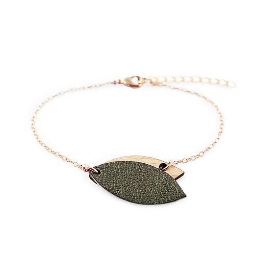 Bracelet en bois et cuir MINI PÉTALE Kaki