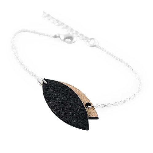 Bracelet en bois et cuir MINI PÉTALE Noir