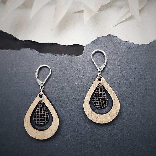 Boucles d'oreilles en bois et cuir AMANDE Nuit