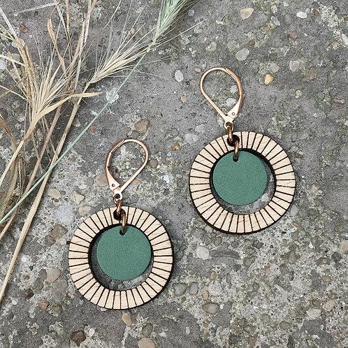 Boucles d'oreilles en bois et cuir BULLE Vert de Gris
