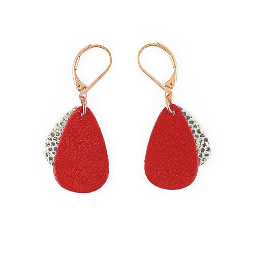 Boucles d'oreilles en cuir MÉDUSE Rouge