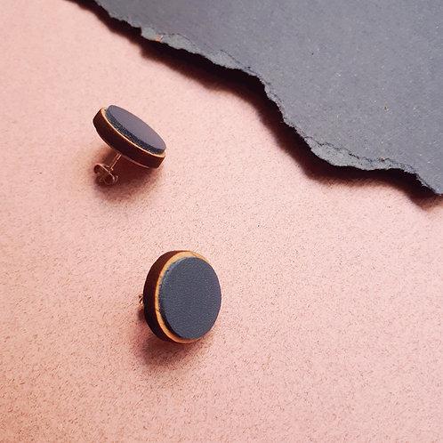 Puces d'oreille en bois et cuir COSMIC