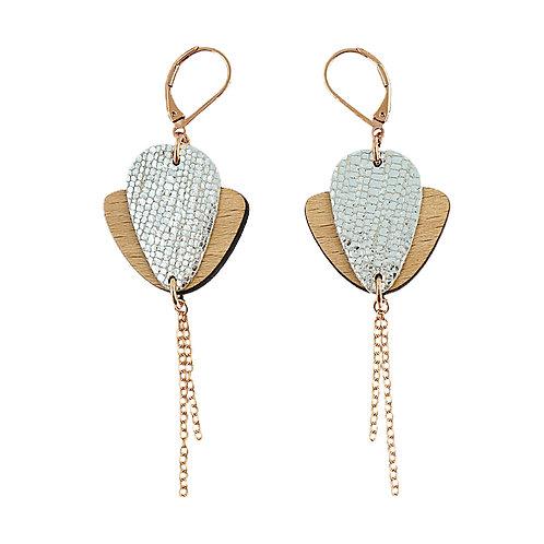 Boucles d'oreilles en bois et cuir Magnolia Cristal