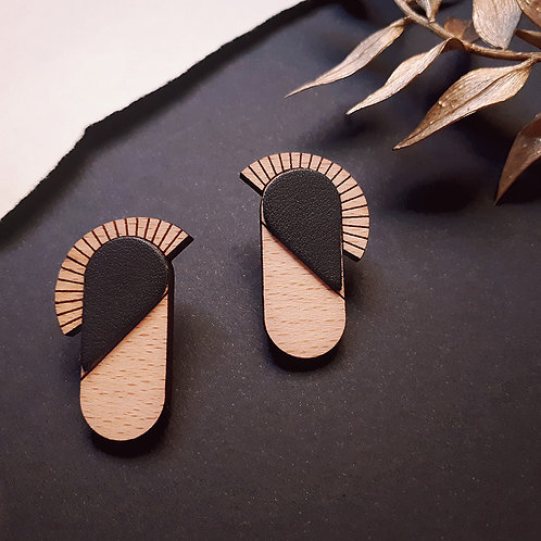 Boucles d'oreilles en bois et cuir MAYA Noir