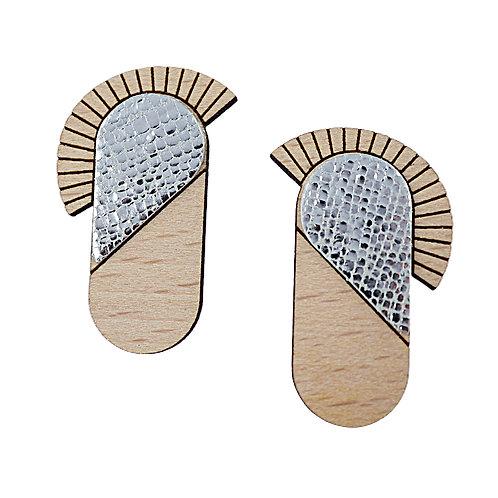 Boucles d'oreilles en bois et cuir MAYA Cristal