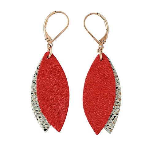 Boucles d'oreilles en cuir PÉTALE Rouge