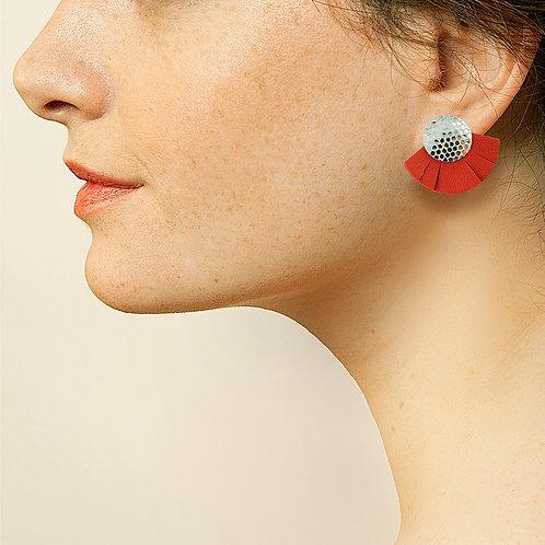 Puces d'oreilles en cuir SOLAIRE Rouge