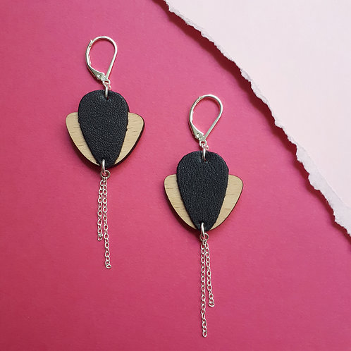Boucles d'oreilles en bois et cuir Magnolia Noir