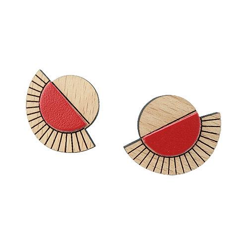 Puces d'oreilles en bois et cuir AZTÈQUE Rouge