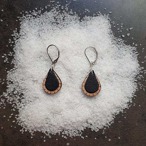 Boucles d'oreilles en bois et cuir GOUTTE Noir