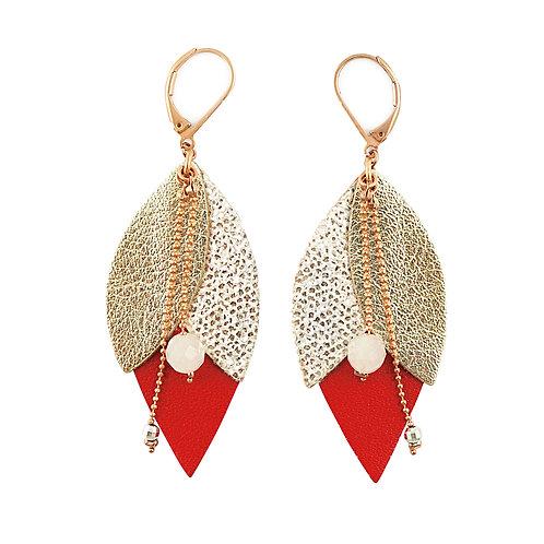 Boucles d'oreilles en cuir TULIPE Rouge