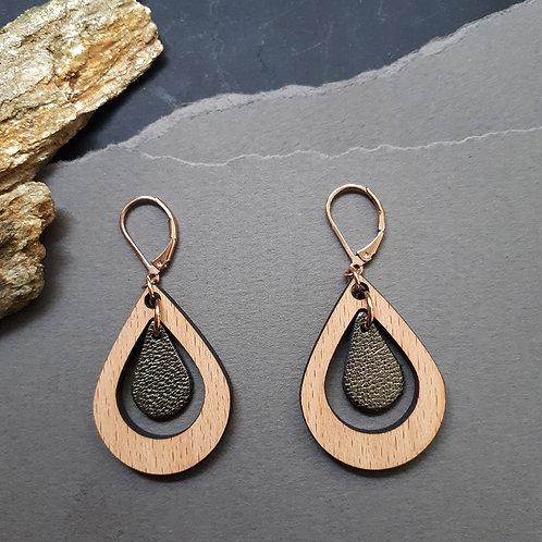 Boucles d'oreilles en bois et cuir AMANDE Kaki