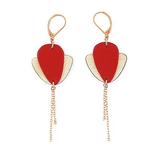 Boucles d'oreilles en bois et cuir Magnolia Rouge