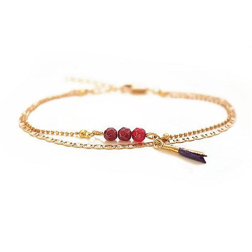 Bracelet Bohème PIERRES FINES Rouge