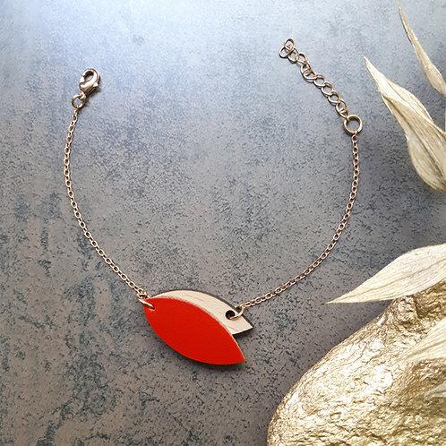 Bracelet en bois et cuir MINI PÉTALE Rouge