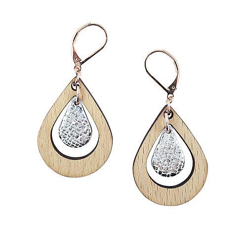 Boucles d'oreilles en bois et cuir AMANDE Cristal