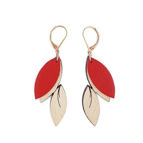Boucle d'oreilles en bois et cuir PLUME Rouge