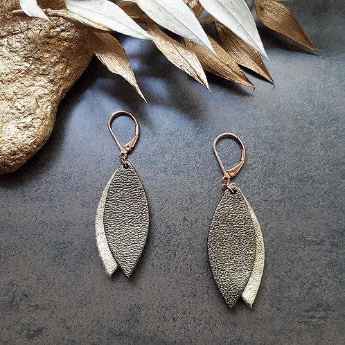 Boucles d'oreilles en cuir PÉTALE Kaki