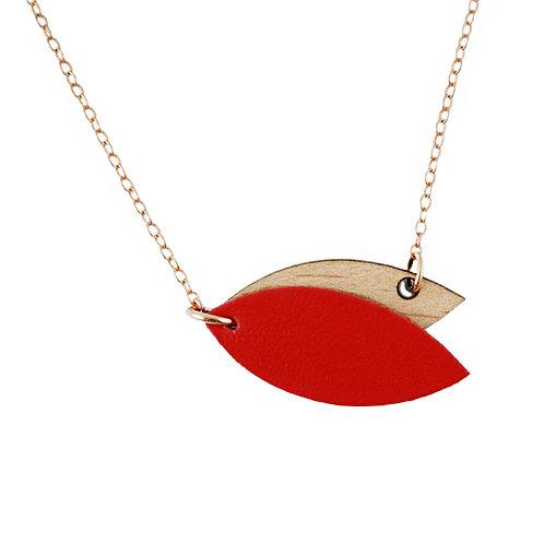 Collier en bois et cuir MINI PETALE Rouge