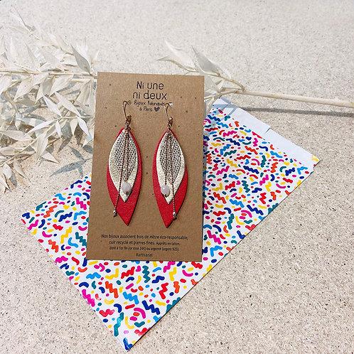 Boucles d'oreilles en cuir POP Rouge