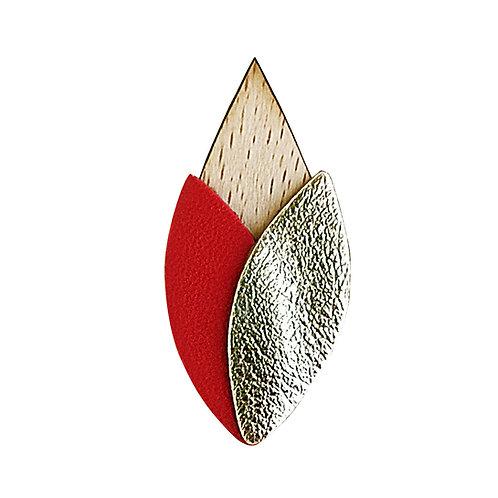 Broche en cuir et bois TULIPE Rouge