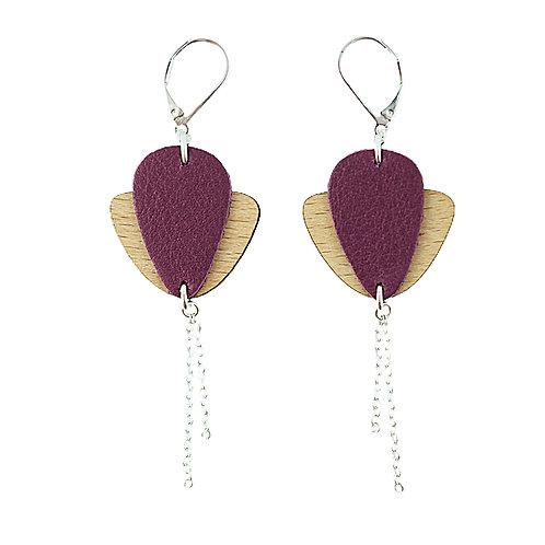 Boucles d'oreilles en bois et cuir Magnolia Prune