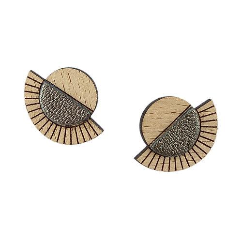 Puces d'oreilles en bois et cuir AZTÈQUE Kaki