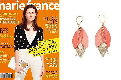 Boucles d'oreilles Tulipe sont dans le magazine MARIE FRANCE juin 2016