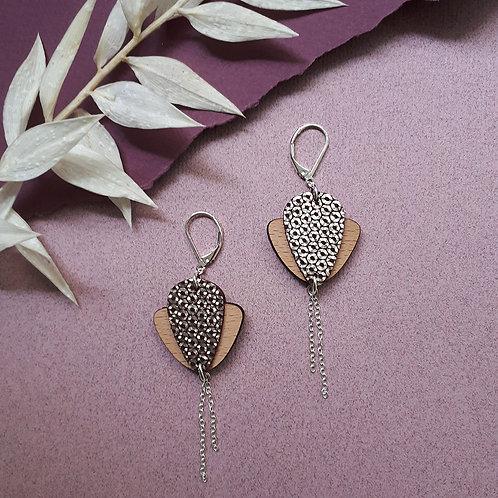 Boucles d'oreilles en bois et cuir Magnolia Mordoré