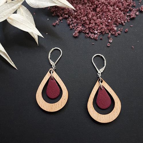 Boucles d'oreilles en bois et cuir AMANDE Prune