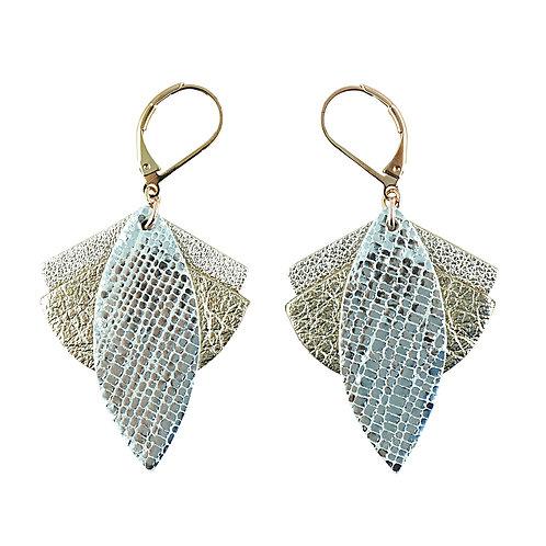 Boucles d'oreilles en cuir LOTUS Cristal