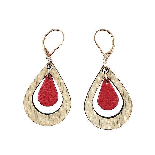 Boucles d'oreilles en bois et cuir AMANDE Rouge