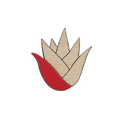Broche en cuir et bois ALOÉ Rouge