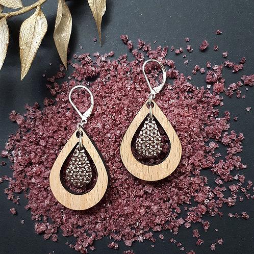Boucles d'oreilles en bois et cuir AMANDE Mordoré